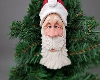 Hand Carved Santa Ornament/Shelf Sitter
