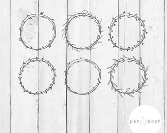 Handdrawn Wreath Svg - Monogram SVG - Monogram Frame SVG - Laurel Wreath SVG - Wreath Svg - Wreath Svg Bundle - Handdrawn Frames - Frame Svg