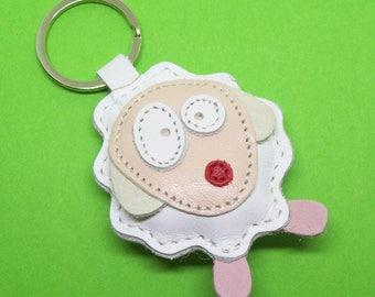 White Sheep Handmade Leather Keychain - FREE Shipping Worldwide - White Sheep Leather Bagcharm