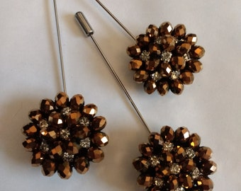 Set of 3 Men's Lapel Pins...Suit Stick Pins...Copper and Crystal Stick Pins.