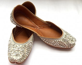 Motiyon Ki Bahaar - White Bridal Shoes with Silver Rhinestones and Pearls - Indian Ballet Flat Shoes from Enhara/Wedding Women Shoes