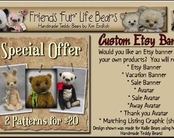 Custom ETSY Cover Photo Shop Set - Etsy Shop Set Using Your Products - One of a Kind Etsy Shop Set Design
