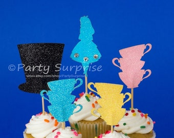 Alice Hatter Cupcake Toppers Alice party decorations Alice cake decorations girl cupcake decoration Wonderland Party Mad Hatter toppers