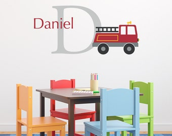Firetruck Decal Set - Initial & Name Personalized Truck Wall Decal - Boy Bedroom Wall Art - Fire Truck - Medium