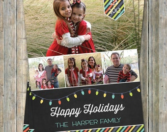 Happy Holiday Card, chalkboard holiday photo card, multiple photos, digital printable file