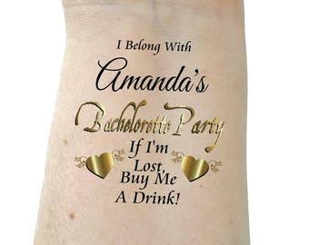 Bachelorette tattoo bridesmaid tattoo bachelorette party tattoos temporary tattoo gold tattoos