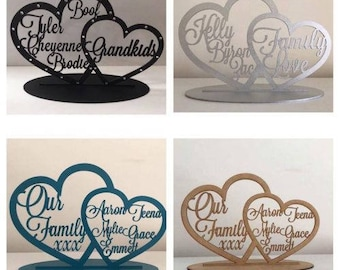 Personalised Double Heart Personalized Gift  Family  home decor