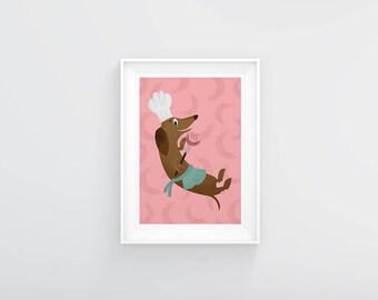 Retro Sausage Dog A3 Print