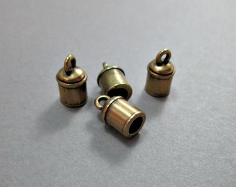 Small cord ends, round end caps, antique brass, 12mm, (6)