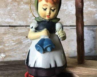 Vintage Christmas Ornament Sweet Little Girl With Bells
