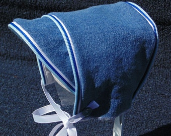 Baby Boy Blue Denim - Fleece Lined Cold Weather Hat with White Trim