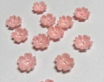Vintage Plastic Flowers in Pink - 24 Pieces - #380
