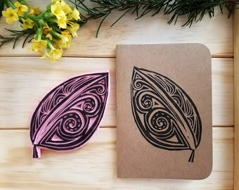 Leaf Notebook | block print notebook | pocket notebook | leaf art | handmade print