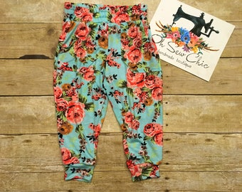 Spring Floral Knit Joggers, Toddler Pants, Girls Pants, Baby Pants, Comfy Pants for Girls, Aqua Floral Pants