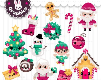 Christmas Kawaii Clip Art / Christmas Cute Clipart