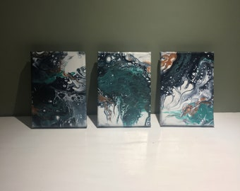 Trio of Blue and Copper Abstract Canvas Art