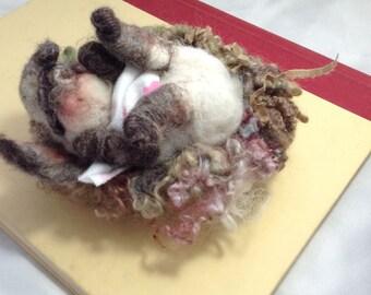 Sleepy Baby Bunny in a Nest Needle Felted Wool