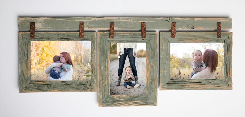 2 Barnwood Collage Sage Frame 3 4x6 Multi Opening