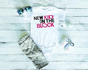 Funny Baby Onesie - Cute Baby Onesie - Baby Shower Gift - New Baby Gift - Baby Onesie With Sayings - New Kid On The Block