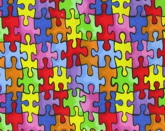 1/2 Yard Autism Awareness / Fabric By The Yard