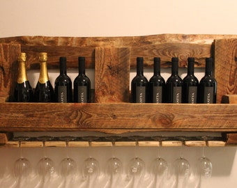 Bottle holder wooden Pallet shelf/wine cellar