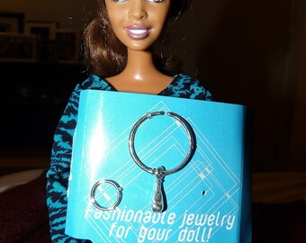 Vintage necklace & bracelet set in silver plastic for Fashion Dolls - bdj1