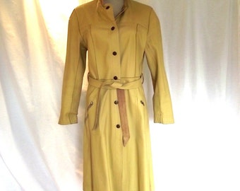 70s Trench Coat / Vintage Reversible Leather n Suede Trench Coat / Induyco /  Sz S to Sz M