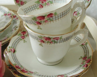 Vintage Art Deco Wellington bone china tea cup and saucer and cake plate (tea cup trio) 1930's. TT008.