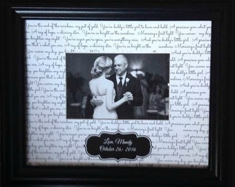 Father's day gift from Daughter Father daughter Wedding song verse personalizied frame