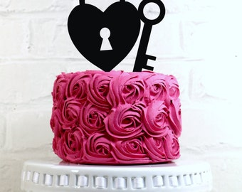 Key to My Heart Wedding Cake Topper with Lock and Key