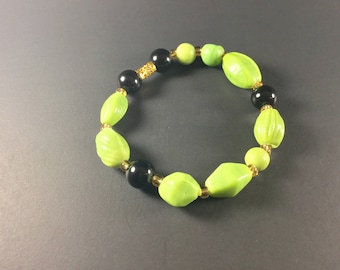 7.5 inch lime green with black and gold accents