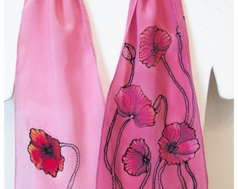 "SALE. Hand painted silk scarf. 8""x52"". Poppy Silk Scarf. Painted silk scarves. Salmon pink silk scarf. Hand-painted silk scarf. Poppy scarf"