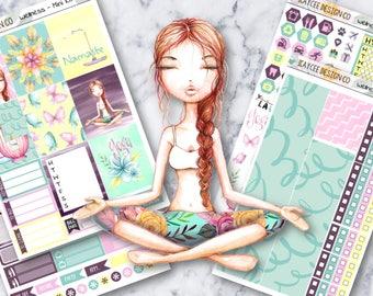 MINI Weekly Kit / Wellness Week / Planner Stickers /  Fits Erin Condren Vertical & MAMBI / Glitter / Hand Drawn