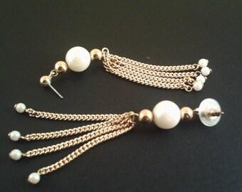 Vintage Chain Pearl Earrings