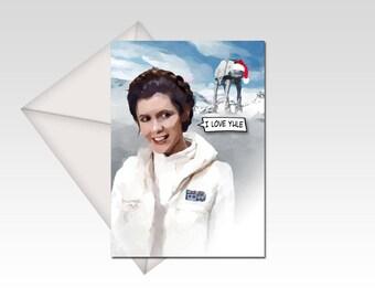Star Wars inspired Princess Leia and Han Solo Christmas Card