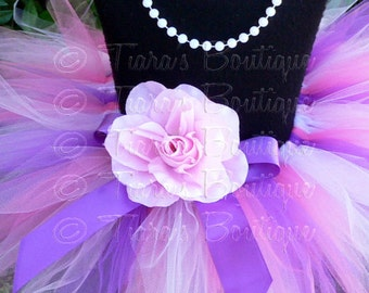 Baby Tutu - Sewn Tutu - Pink Purple Lavender Tutu - Berry Lovely - 8'' Pixie Tutu - Newborn to 12 months