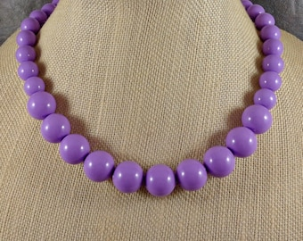 Statement Necklace, Gumball Necklace, Purple, Lavender, Chunky Necklace, Purple Bead Necklace, Beaded, Round Bead Necklace, Purple Necklace,