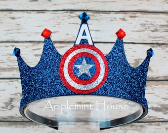 Captain America Crown,Captain America Birthday Crown,Superhero birthday,Adult Captain America Crown,Captain America headband,