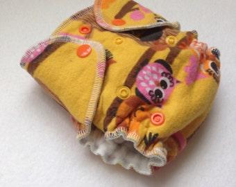 SALE - Newborn and Preemie Sunburst Owls Fitted Cloth Diaper