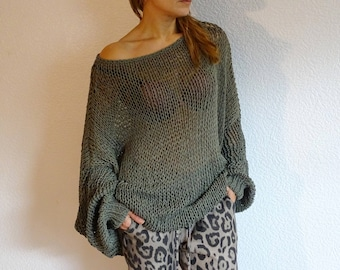 loose knit sweater, knit oversized sweater, knit pullover, slouchy sweater, plus size, cotton sweater, knit oversized, made to order