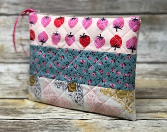 Quilted Garden Zipper Pouch   Quilted Bag   Gardener Gift   Handmade Bag Ready to Ship