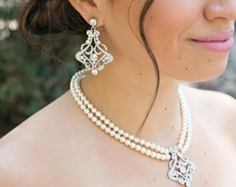 Bridal pearl and crystal necklace Statement Bridal necklace Wedding Rhinestone necklace swarovski crystal and pearl necklace necklace ALEXA