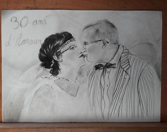 Portrait of a couple pencil drawing