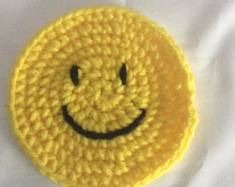 Set of 4 Crocheted Smiley Face Coasters