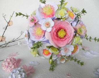 Wedding bouquet, white and pink bridesmaid bouquet, camelia and sakura bridal bouquet, alternative bouquet, origami bouquet, flower bouquet