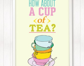 kitchen decor, cup of tea, tea party, nursery art print, A3 poster, pastels