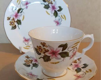 Gainsborough Floral pattern trio - cup, saucer and side plate. Vintage