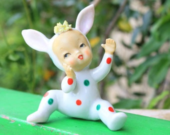 Vintage Christmas Baby Girl w Green Red Polka Dot Bunny Suit Pajamas PJ's Spaghetti Japan 1950's Mid Century Collectible Decoration Figurine