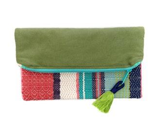 Helene | Handwoven Evening Purse | Pastel Bridesmaid Woven Bag | Cotton Woven Envelope Clutch | Luxe Zipped Woven Pouch | Chevron Woven Bag