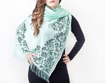 Mint Lace Scarf Floral Fashion Scarf Summer Bohemian Scarf Valentine's Day Gift Girlfriend Gift Bohemian Shawl Mint Gift For Her